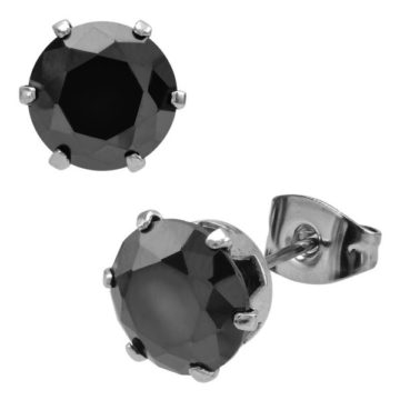 Add drama to your outfit black CZ Fire Steel, stainless steel earrings