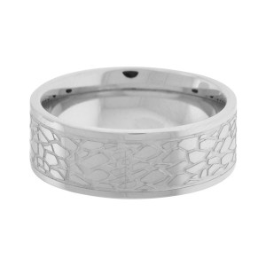 Fire Steel, Men's Stainless Steel Rings, Mosaic motif