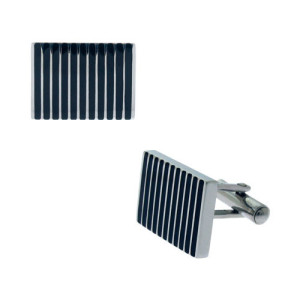 Fire Steel, Stainless Steel Cufflinks with Black PVD and Rubber