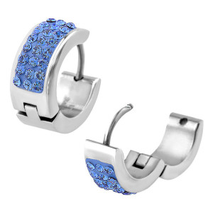 Fire Steel, stainless steel huggies, Blue Crystals