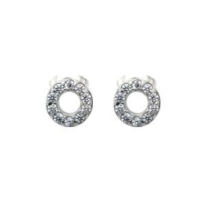 Fire Steel, Stainless Steel Jewellery Sets Circle CZ Earrings