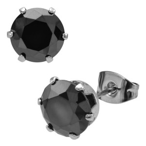 Fire Steel, Black CZ 316L Stainless Steel Stud Earrings