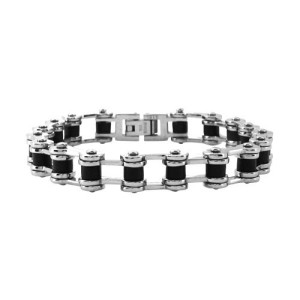 Men's Biker Fire Steel, Stainless Steel Bracelets with Black Rubber