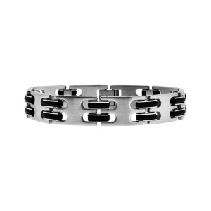 Fire Steel, Men's Stainless Steel Bracelets, Black Rubber Dashes