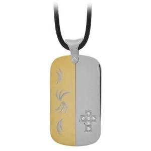 Fire Steel, Men's Stainless Steel Pendants in PVD Gold, Cross Motif