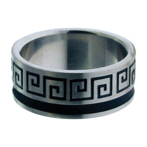 Fire Steel, Men's Stainless Steel Rings with Greek Scriptures