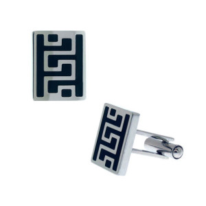Fire Steel, Stainless Steel Cufflinks with Greek Scriptures