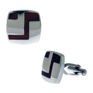 Fire Steel, Stainless Steel Cufflinks with Wood
