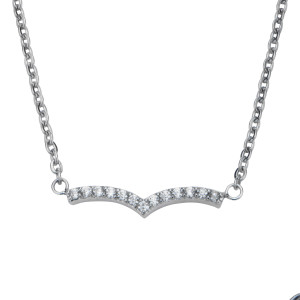 Fire Steel Stainless Steel Jewellery Sets, Chevron Necklace, CZ