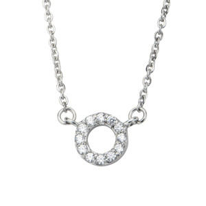 Fire Steel Stainless Steel Jewellery Sets, Circle CZ Necklace