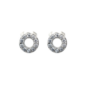 Fire Steel, Stainless Steel Jewellery Sets Circle CZ Earrings