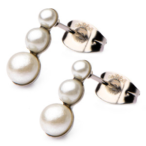 Triple Pearl Fire Steel, Gold Stainless Steel Earrings